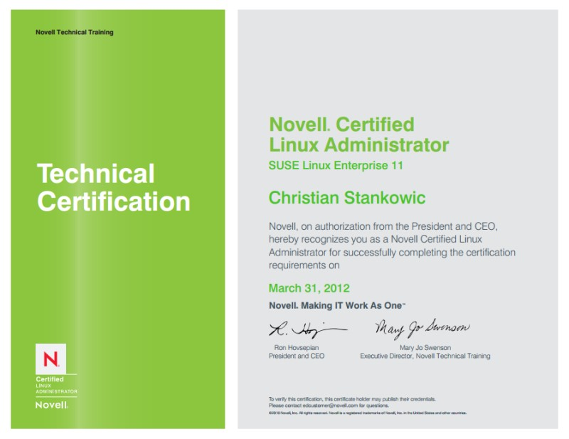 novell certified linux administrator cla achieved 2012 novell data center technical specialist dcts - Novell Certified Linux Engineer Sample Resume