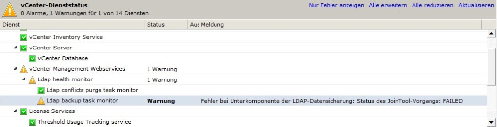 Ldap backup task monitor warning